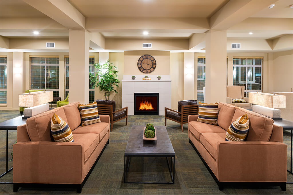 Community sitting area with indoor fireplace